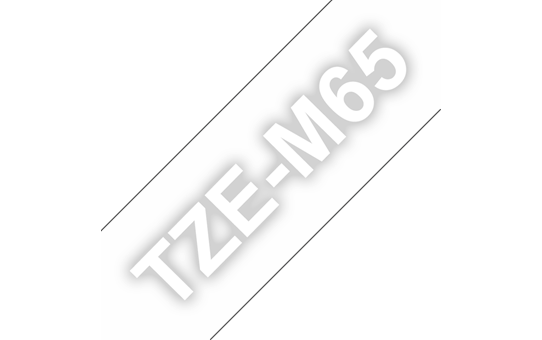 Original Brother TZeM65 merketape - hvit på klar matt, 36 mm bred
