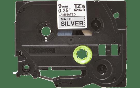 Original Brother TZeM921 tape – sort på mat sølv, 9 mm bred 2