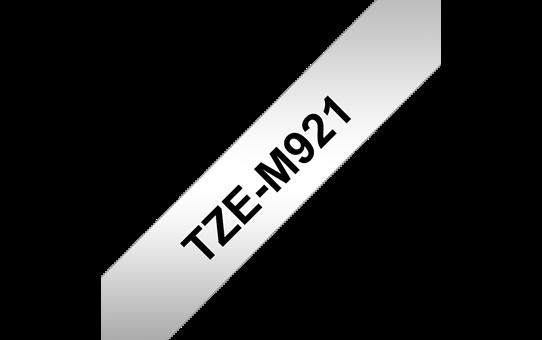 Original Brother TZeM921 merketape – sort på matt sølv, 9 mm bred