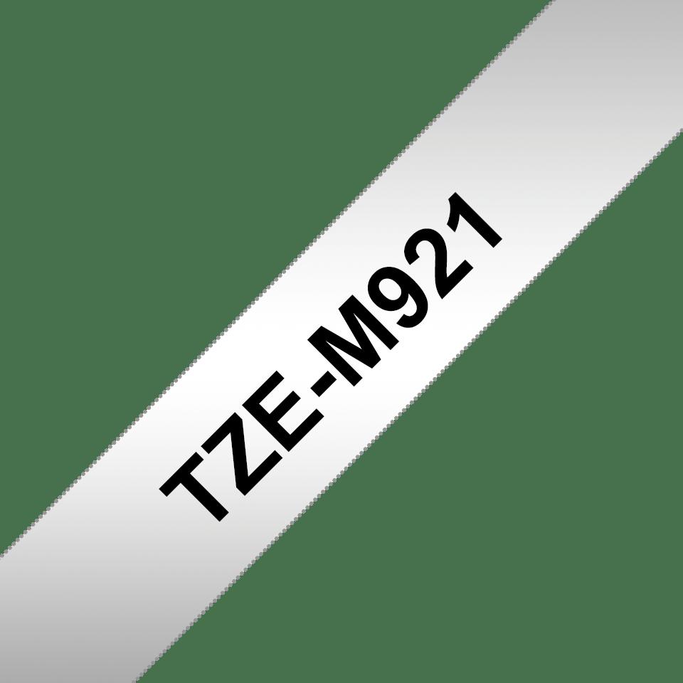 Alkuperäinen Brother TZeM921 -mattametallitarra – musta teksti hopeanvärisellä pohjalla, 9 mm