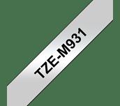 Brother TZe-M931 Nastro metallico originale da 12 mm - nero su argento opaco