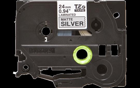 Brother TZe-M951 Nastro metallico originale da 24 mm - nero su argento opaco