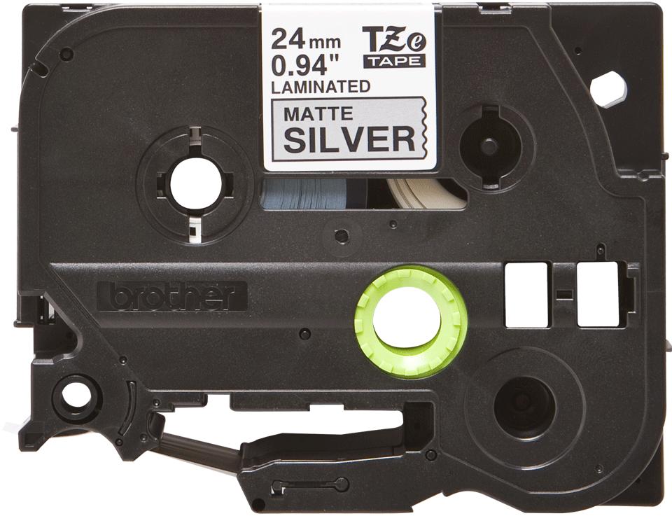 Brother TZeM951: оригинальная лента для печати наклеек на принтере PTouch, черным на серебристом матовом фоне, ширина: 24 мм.