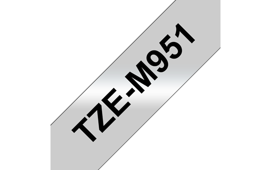 Original Brother TZeM951 merketape – sort på matt sølv, 24 mm bred