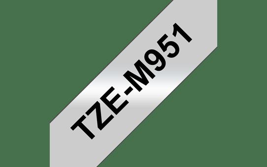 Genuine Brother TZe-M951 Labelling Tape Cassette – Black on Matte Silver, 24mm wide
