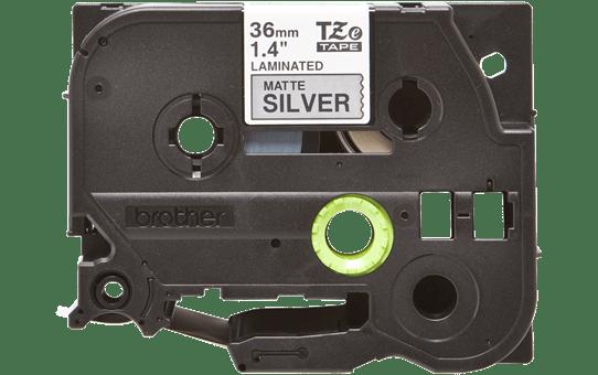 Original Brother TZeM961 tape – sort på mat sølv, 36 mm bred 2