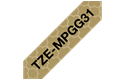 Genuine Brother TZe-MPGG31 Labelling Tape Cassette – Black On Gold Pattern, 12mm wide