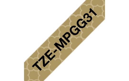 Brother TZeMPGG31 original etikettape svart på guldmönster, 12 mm  3