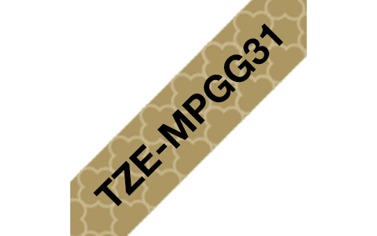 Brother TZe-MPGG31 Nastro originale - laminato, nero su motivo geometrico oro, 12 mm di larghezza 3