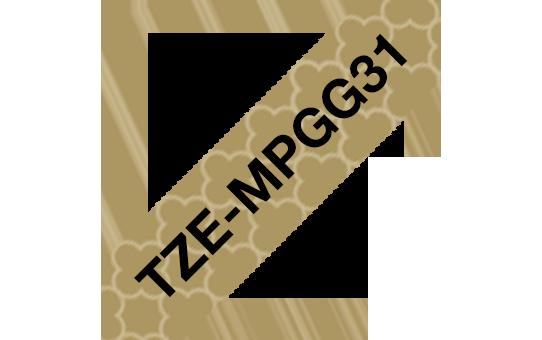 Original TZe-MPGG31 Schriftbandkassette von Brother – Schwarz auf Goldmuster, 12mm breit