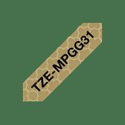 Brother TZeMPGG31merketape sort tekst på matt gullmønsteret bunn