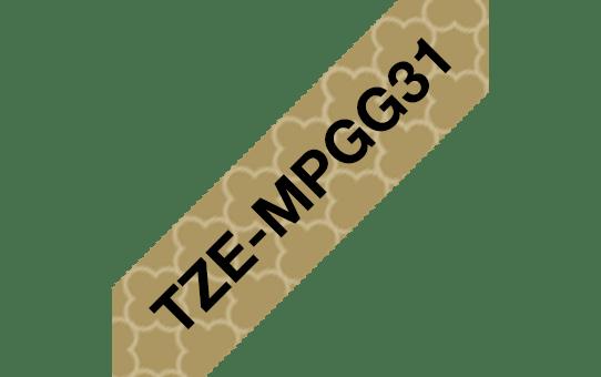 Original Brother TZeMPGG31 merketape – sort på matt gullmønster, 12 mm bred
