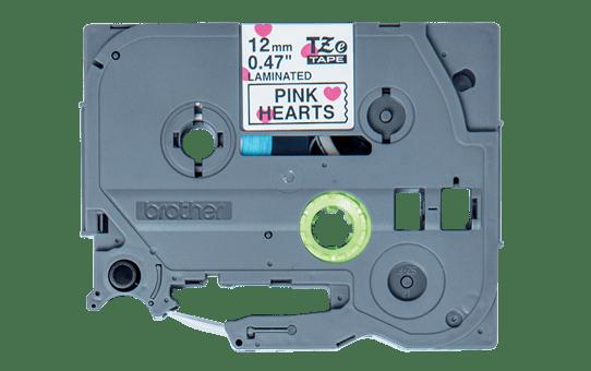 TZeMPPH31: оригинальная кассета с лентой для печати наклеек черным на белом фоне с розовыми сердечками, ширина 12 мм.