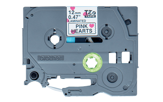 Oryginalna taśma TZe-MPPH31 firmy Brother – czarny nadruk na tle w różowe serca, 12mm szerokości 2