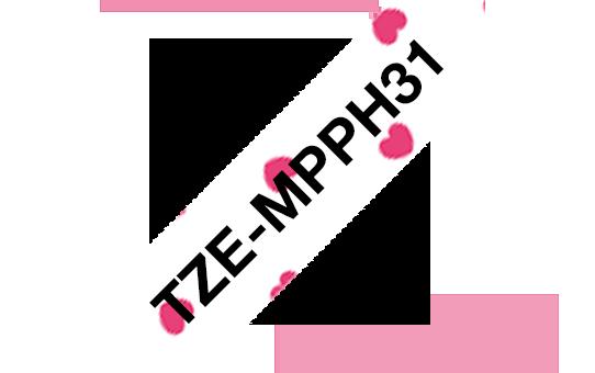 Original Brother TZe-MPPH31 tape – sort på lyserøde hjerter, 12 mm bred