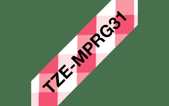Originali Brother TZe-MPRG31 ženklinimo juosta – juodos raidės ant raudonos languotos juostos, 12 mm pločio 3