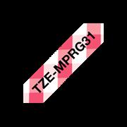 Brother TZeMPRG31 merketape med sort tekst på rødt rutemønster