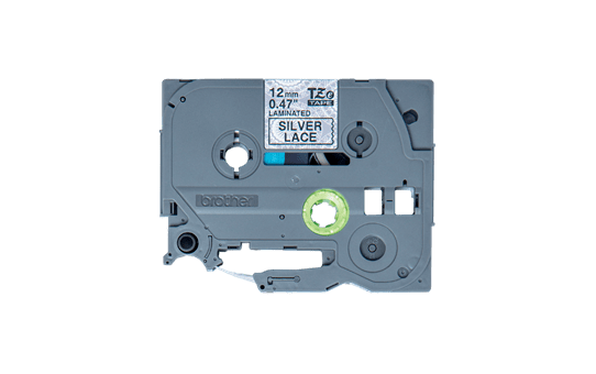 Original TZe-MPSL31 Schriftbandkassette von Brother – Schwarz auf silbernem Spitzenmuster, 12mm breit 2