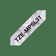 Brother TZeMPSL31 merketape matt sort tekst på sølv med blondemønster