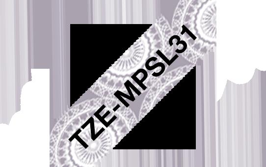 Original Brother TZeMPSL31 merketape – sort på matt sølv med blondemønster, 12 mm bred