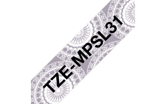 Genuine Brother TZe-MPSL31 Labelling Tape Cassette – Black on Silver Lace Pattered, 12mm wide