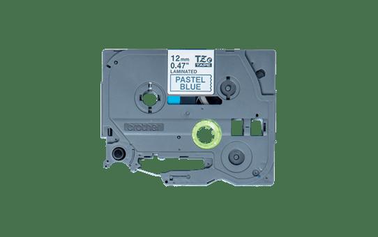 Originali Brother TZe-MQ531 ženklinimo juostos kasetė – juodos raidės pasteliniame mėlyname fone, 12 mm pločio.