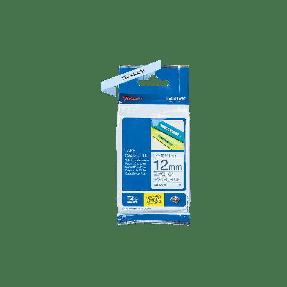 Originele Brother TZe-MQ531 tapecassette – zwart op pastelblauw, breedte 12 mm 3