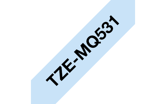 Originali Brother TZe-MQ531 ženklinimo juostos kasetė – juodos raidės pasteliniame mėlyname fone, 12 mm pločio. 3