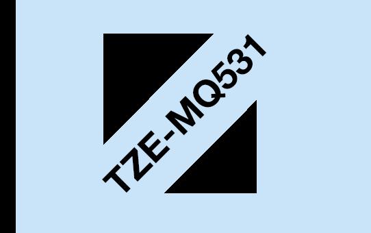 Oriģināla Brother TZe-MQ531 uzlīmju lentas kasete - melnas drukas, pasteļu zila, 12mm plata  3