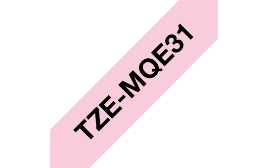 Original TZe-MQE31 Schriftbandkassette von Brother – Schwarz auf Pastellrosa, 12mm breit