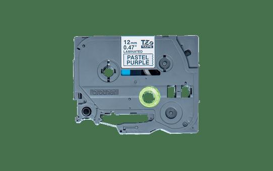 Original Brother TZeMQF31 laminert matt merketape – sort på pastell lilla, 12 mm bred 2