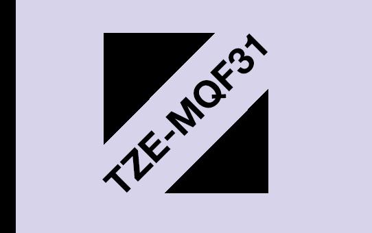 Casetă cu bandă de etichete originală Brother TZe-MQF31 – negru pe purpuriu pastelate, 12mm lățime