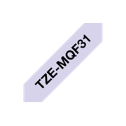 Brother TZeMQF31 matt merketape med sort skrift på pastell lilla bunn