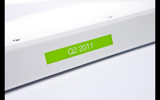 Genuine Brother TZe-MQG35 - бял текст на светлозелена матирана лента, ширина 12mm 4