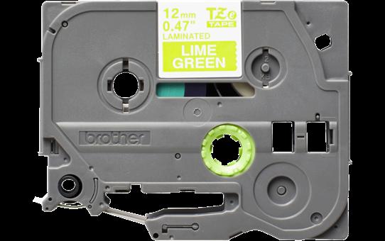 Casetă cu bandă de etichete originală Brother TZe-MQG35 – alb pe verde lime, lățime de 12mm 2