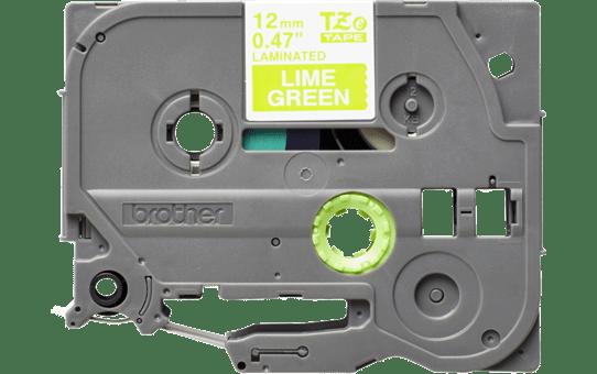 Original Brother TZeMQG35 laminert matt merketape – hvit på limegrønn, 12 mm bred 2