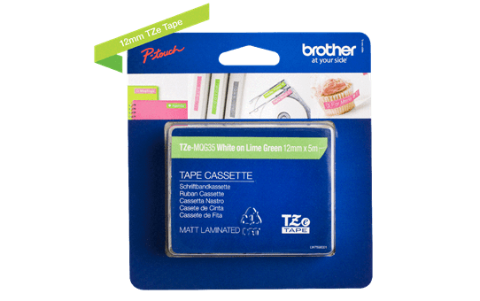 Genuine Brother TZe-MQG35 Labelling Tape Cassette – White on Lime Green, 12mm wide 2