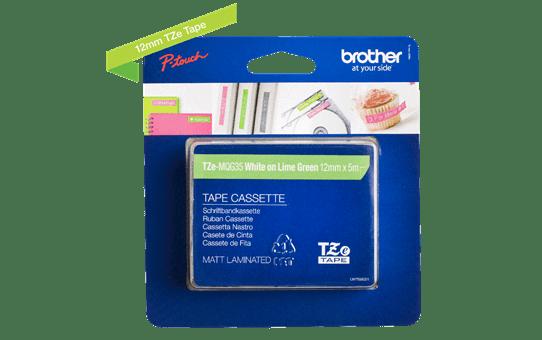 Cassetta nastro per etichettatura originale Brother TZe-MQG35 – Bianco su verde acido, 12 mm di larghezza 2