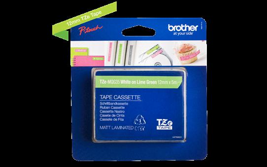 Originele Brother TZe-MQG35 label tapecassette – wit op lime groen, breedte 12 mm 3