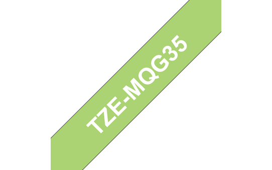 Genuine Brother TZe-MQG35 Labelling Tape Cassette – White on Lime Green, 12mm wide