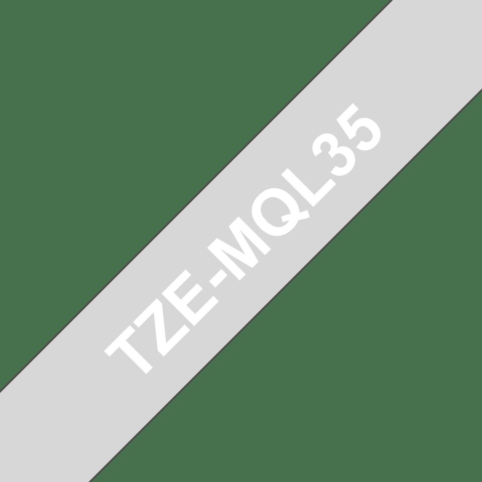 Ruban pour étiqueteuse TZe-MQL35 Brother original – Blanc sur gris clair, 12mm de large 3