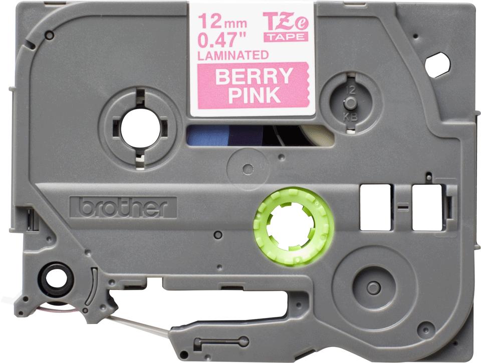Brother TZe-MQP35 original etikett tapekassett- vit på rosa laminerad tape, 12 mm bred