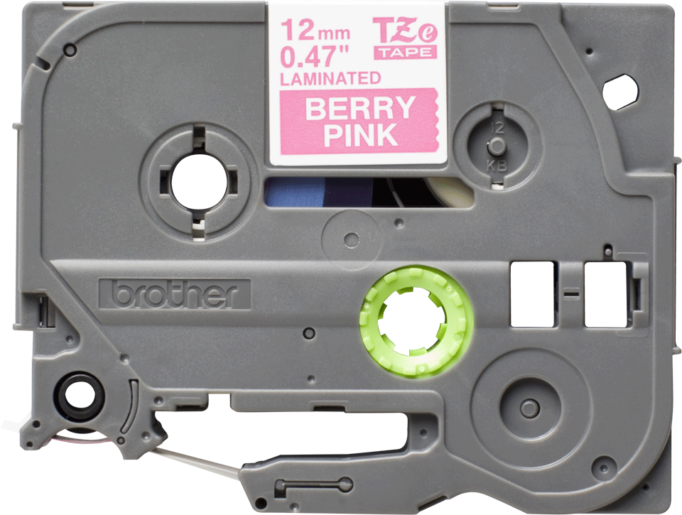 TZeMQP35: оригинальная кассета с лентой для печати наклеек белым на клубнично-розовом фоне, ширина 12 мм.
