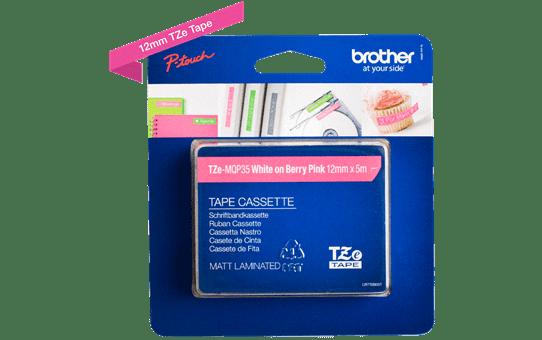 Original TZe-MQP35 Schriftbandkassette von Brother – Weiß auf Pink, 12mm breit 3