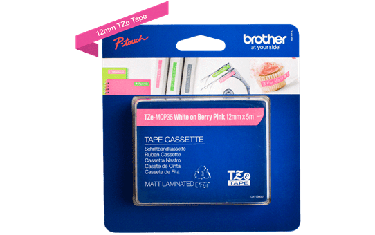 Brother TZe-MQP35 hvid på pink-tape – 12 mm bred 3