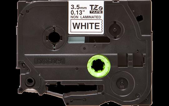 Original Brother TZeN201 ulaminert merketape – sort på hvit, 3,5 mm bred 2