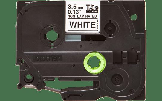 Oryginalna nielaminowana taśma TZe-N201 firmy Brother – czarny nadruk na białym tle, 3.5mm szerokości 2