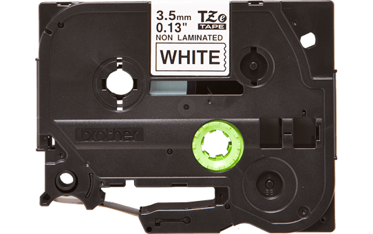 Brother TZeN201 original etikettape, svart på vit, 3,5 mm