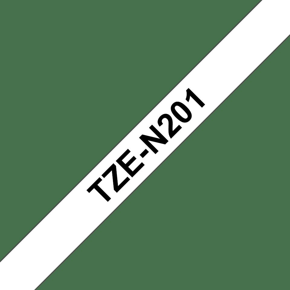 Brother TZeN201 original etikettape, svart på vit, 3,5 mm  3