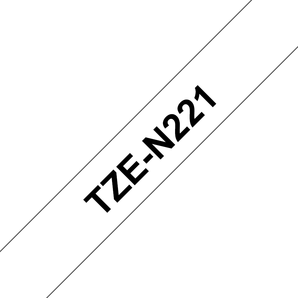 Genuine Brother TZe-N221 Labelling Tape Cassette – Black on White, 9mm wide
